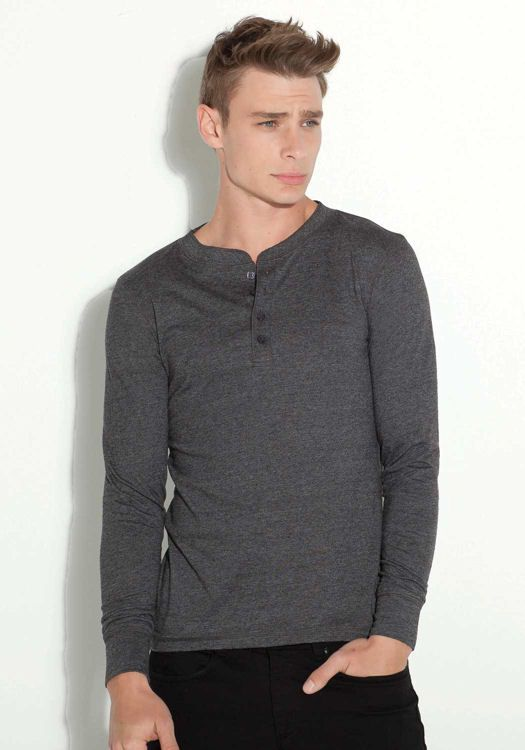 BELLA T-shirt Uomo Henley maniche lunghe con bottoni (Serafino) | T-shirts a maniche lunghe | Abbigliamento uomo | Mikyart.it