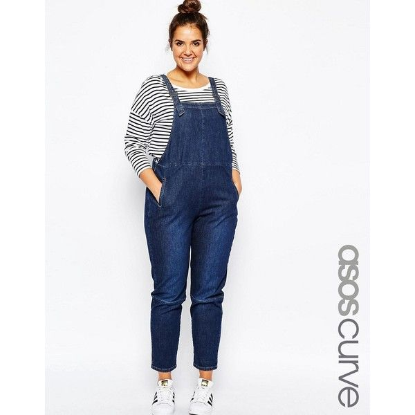 ASOS CURVE 90's Overall in Midwash ($73) ❤ liked on Polyvore featuring jumpsuits, blue, plus size, bib overalls, white jumpsuit, plus size womens bib overalls, plus size womens overalls and asos curve