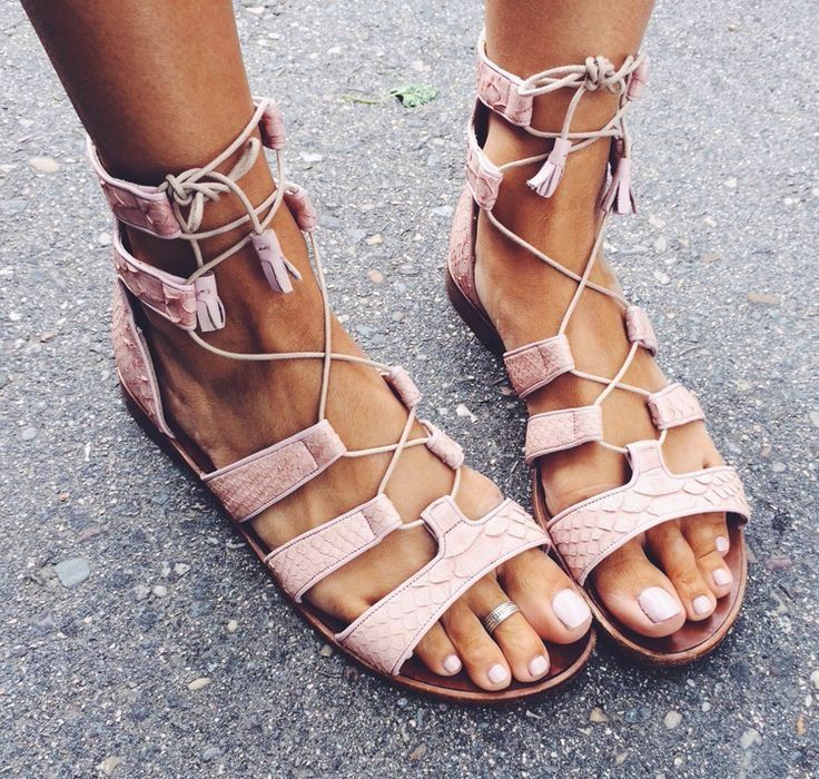 Pale Ballet Pink, Lace Up Sandal with Tassel, Pale Pink Toe Polish and Toe  Ring.