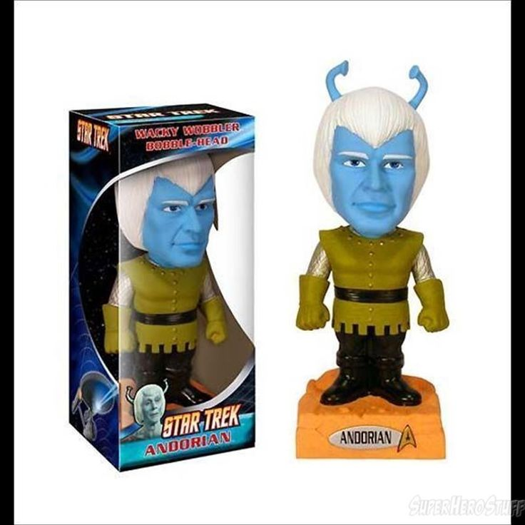 The around 7 inch tall Star Trek Andorian Wacky Wobbler Bobble Head is an awesome collector's item for fans of the original Star Trek!