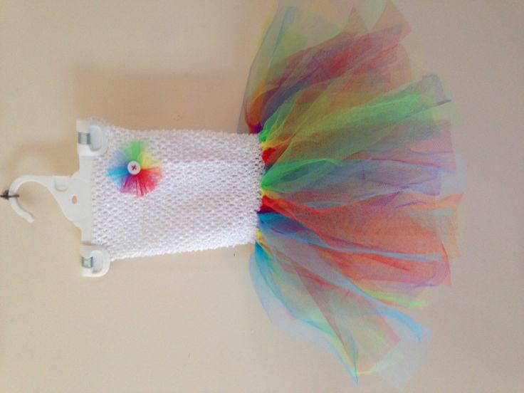Hand tied rainbow tutu dress  1st attempt