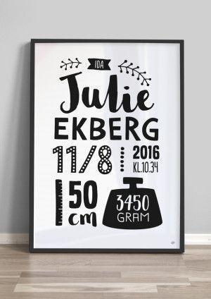 Typografisk personlig födelsetavla - 50x70cm - vit