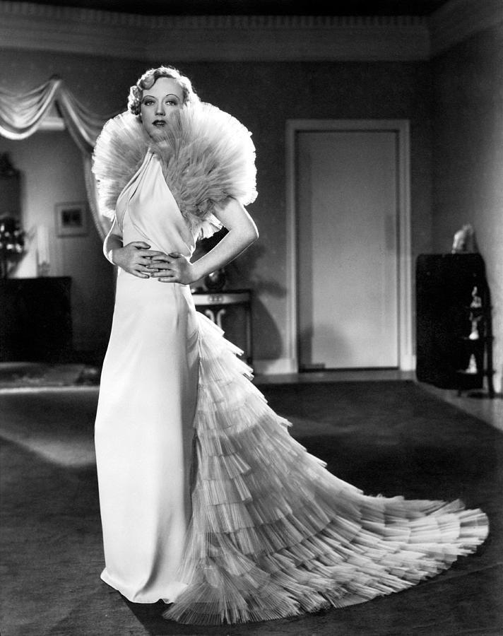 Marion Davies 30s gown long dress bias ruffle chiffon portrait movie star glam
