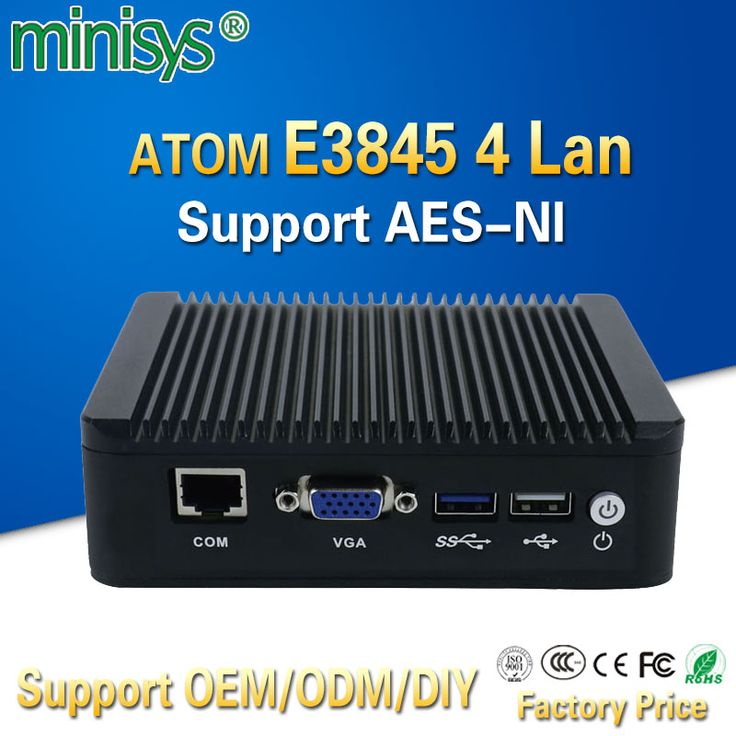 Pfsense fanless X86 mini pc VGA with ATOM E3845 CPU 4 Lan router barebone nano itx desktop computer for windows 7 4gb ram AES-NI. Yesterday's price: US $409.90 (333.95 EUR). Today's price: US $188.55 (154.55 EUR). Discount: 54%.