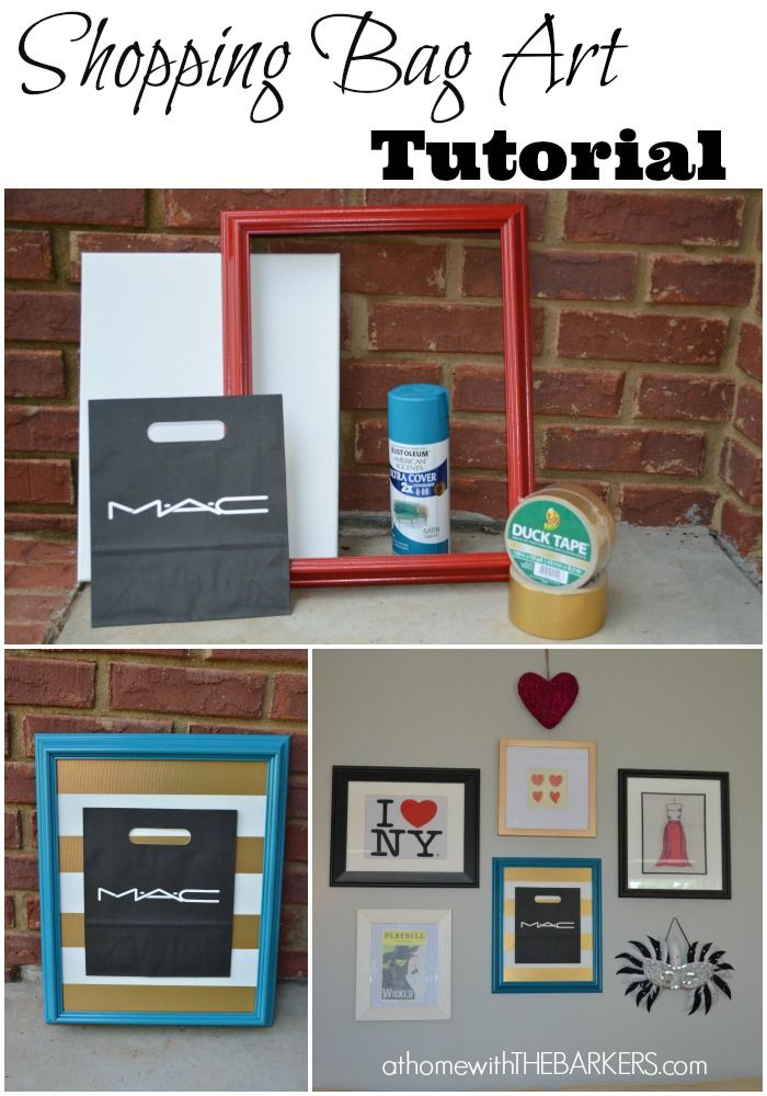 Shopping Bag Art Tutorial for teen girl gallery wall #homedecor #Roommakeover #art #athomewiththebarkers