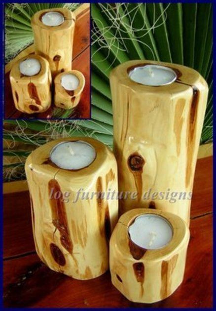 SET OF RED CEDAR CANDLE HOLDERS