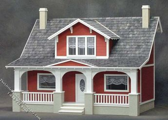 Assembled Classic Bungalow Dollhouse - Click Image to Close