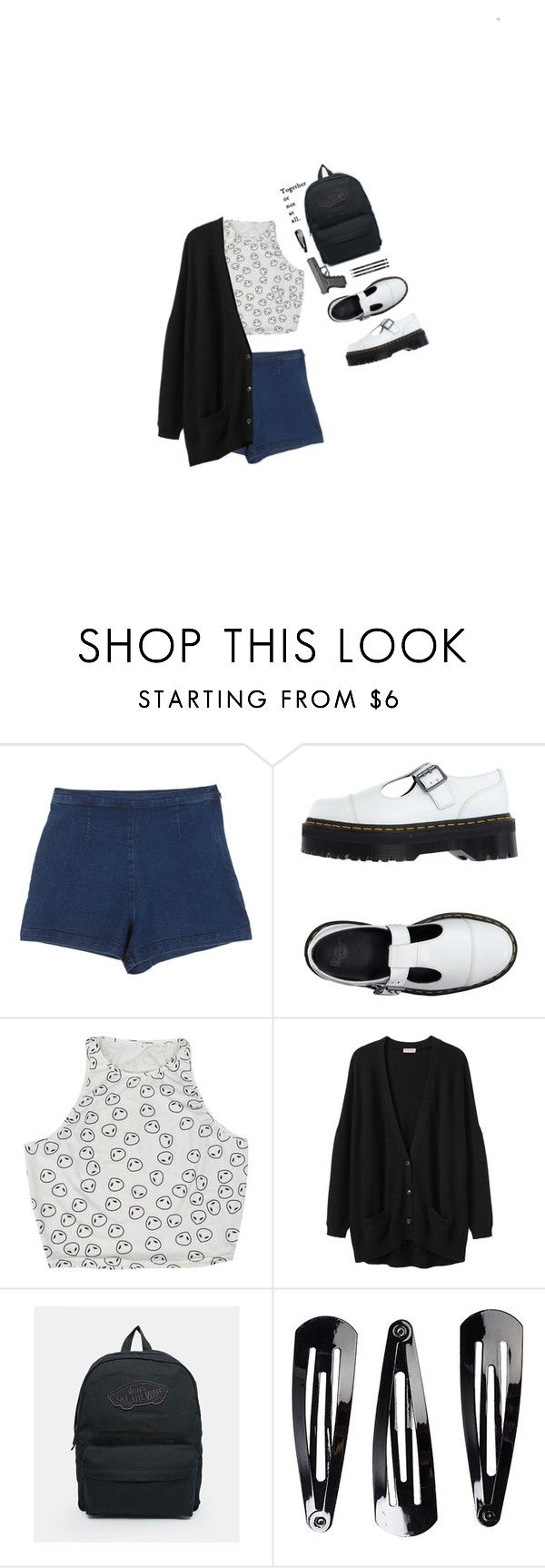 """""""Together or not at all."""" by h3li ❤ liked on Polyvore featuring Dr. Martens, Chicnova Fashion, Organic by John Patrick, Vans, NLY Accessories, Spring, school, everyday, autumn and denimshorts"""