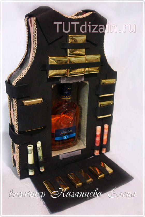 Gilet - Vest - Bottle Sweets Giftbox - step by step Photo tutorial  Bildanleitung