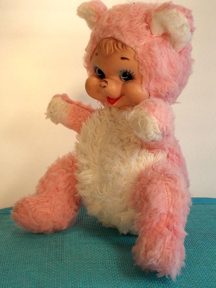 Rushton Rubber Faced Pink Plush Bear Happy Teddy Vintage