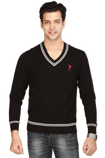 Mens Full Sleeves V Neck Slim Fit Solid Sweater - 1847