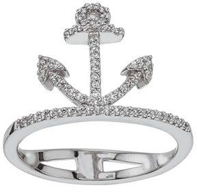 Ax Jewelry Diamond Anchor Ring 1/5 Ct Tw Round-cut Sterling Silver.