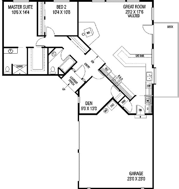Family Privacy - 77136LD | Northwest, Ranch, Narrow Lot, 1st Floor Master Suite, CAD Available, Den-Office-Library-Study, PDF | Architectural Designs