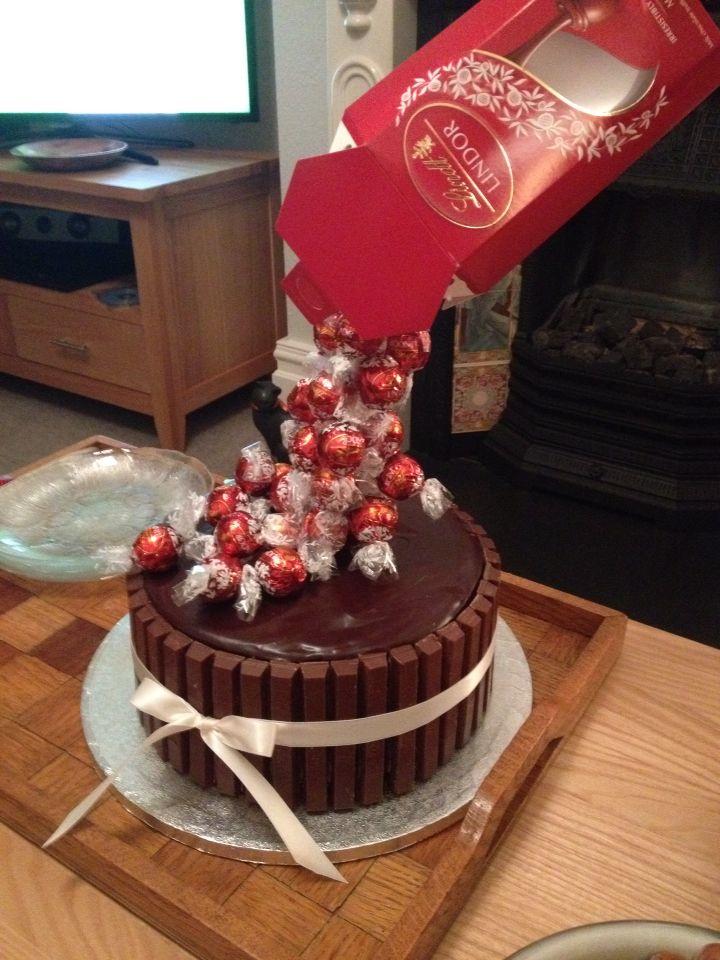 Anti gravity cake, Lindt truffles.