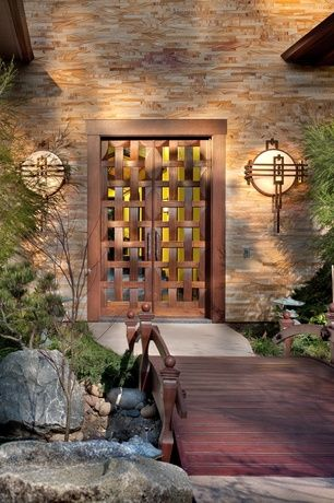 Asian Front Door with Bird bath, Wooden garden bridge, Japanese maple tree, Borano Sapporo Basketweave Door, Glass panel door