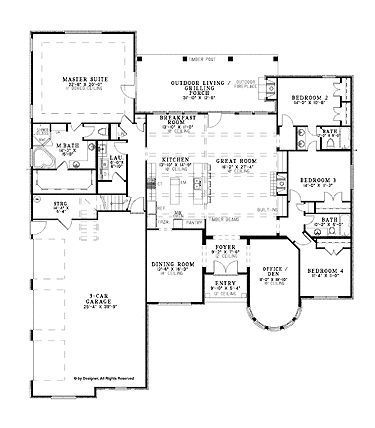 1 Story French Country Home with 4 Bedrooms, 3 Bathrooms and 3,052 total Square Feet