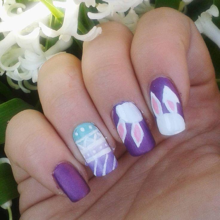 Domi Králiková (@domi_nailart) Easter bunny❤ #nailartaddict #nailartideas #nailart #nails #nailartclub #nailartwow #bunny #easter #easternails #nailartist #nailartlover #nailartclub #naildesign #easterbunny #whitebunny #easteregg #springnails #spring #spring2018 #avon #follow #avonsk #colorful #purplenails