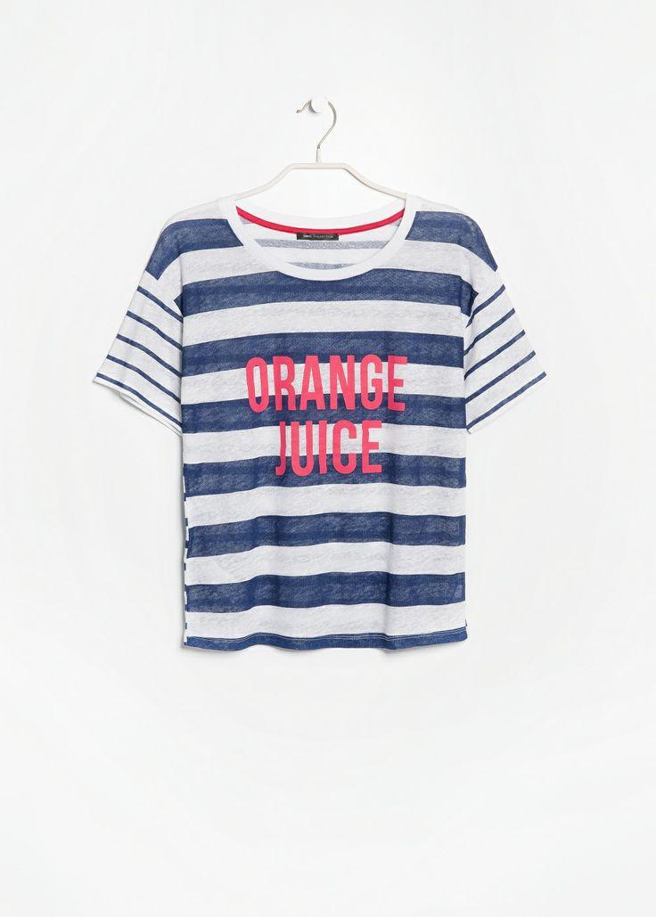 Gestreept linnen T-shirt