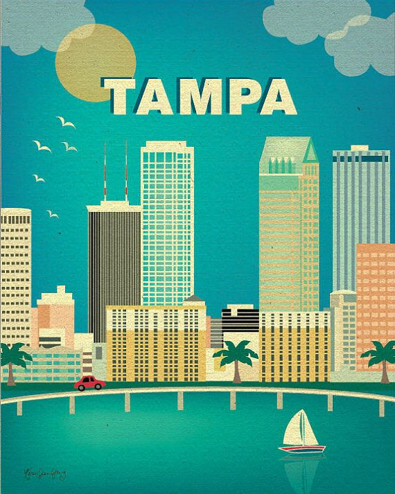 Tampa, Florida Skyline - Travel Poster of Tampa Bay for home, office, gift, and children's rooms. style E8-O-TAM
