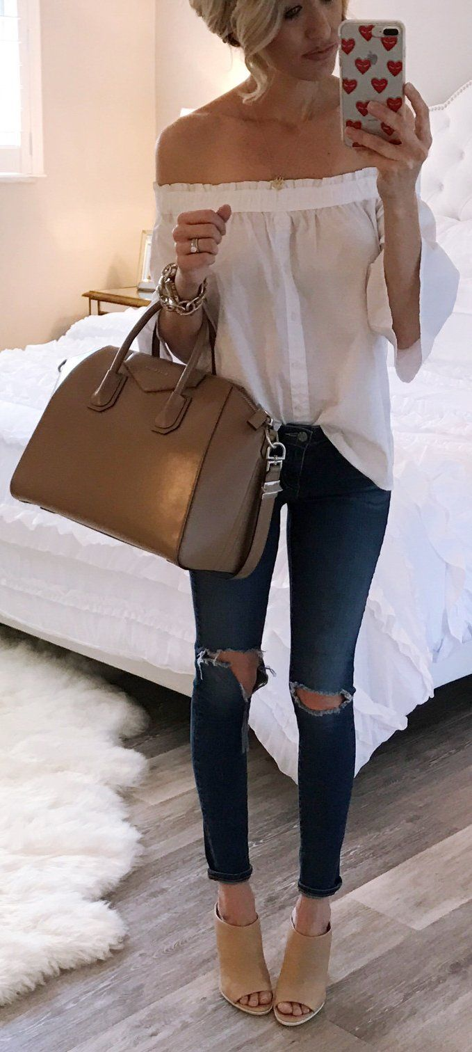 White Off Shoulder Blouse / Brown Leather Tote Bag / Destroyed Skinny Jeans / Beige Open Toe Booties