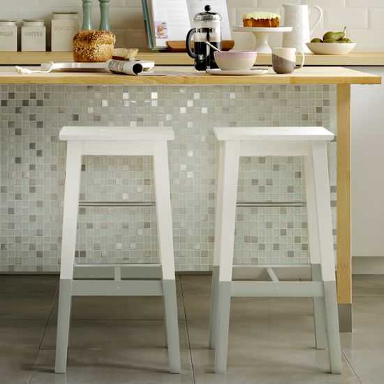 Värde shelving, Ikea. Cover the back of a freestanding kitchen unit with sheets of mosaic tiles.