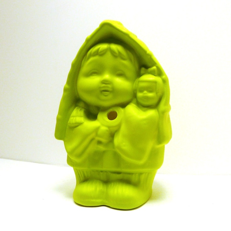 neon kitschy ceramic figurine // lime green charteuse by nashpop: Green Charteuse, Ceramic Figruine, Green Things, Enjoy Green, Kitschy Ceramic, Ceramics, Lime Green, Neon Kitschy