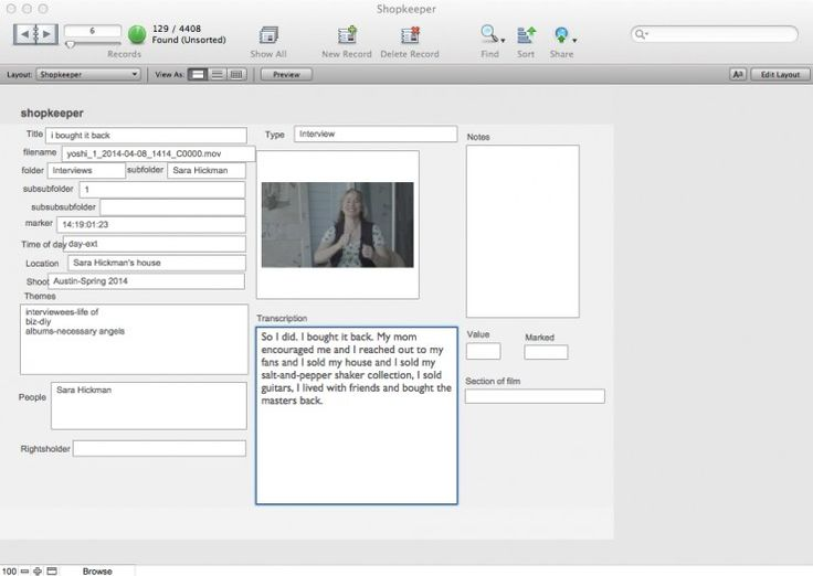 Rain Perry's Filemaker Pro Database for The Shopkeeper    When first-time director Rain Perry got to post with her docThe Shopkeeper, she quickly realized she needed a way to edit without actually editing.