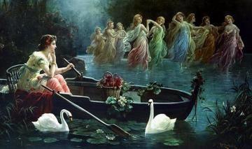 Maiden and Mermaids Artwork by Hans Zatzka