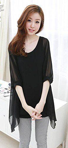 Amazon.co.jp: ラウンドネックシフォンチュニック ブルー ブラック シャツ ワイシャツ Yシャツ ドレスシャツ カジュアル アパレル レディース ファッション 服 209-8251bf: 服&ファッション小物