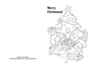 Christmas Colouring Card - Decorating the Tree