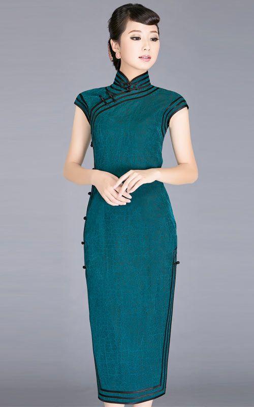 Blue Silk watered gauze cheongsam dress SCS95 - Custom-made Cheongsam,Chinese clothes, Qipao, Chinese Dresses, chinese clothing,EFU Tailor S...