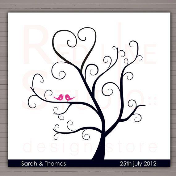 Printable Fingerprints Tree. Alternative wedding guest book, DIY