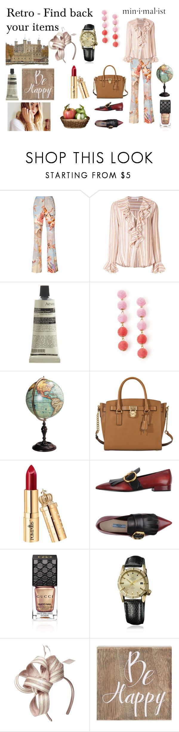 """""""Beige Colour Mode"""" by gift2say ❤ liked on Polyvore featuring Moschino, See by Chloé, Aesop, MICHAEL Michael Kors, Prada, Gucci, March LA.B, Dorothy Perkins and Belle Maison"""