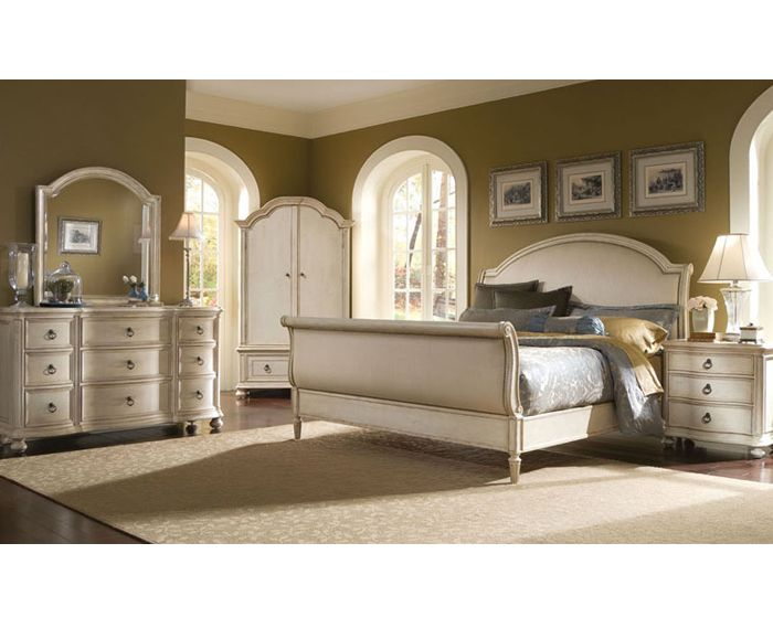 French Provincial Bedroom In Antiqued Linen Finish. Upholstered Headboard  And Footboard Are Studded With Tiny