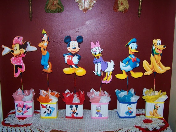 set of 6 mickey mouse club house centerpieces  by birthdayparty2, $60.00