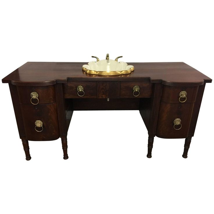 English Mahogany Sideboard with Inset Sink and Faucet, 19th Century