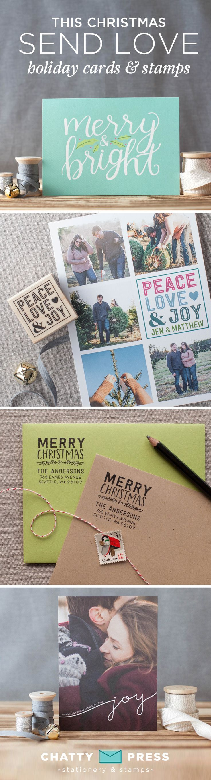 New for 2016! Modern Holiday photo cards and address stamps. Upload your photo and we'll design your card to send to family and friends near and far!