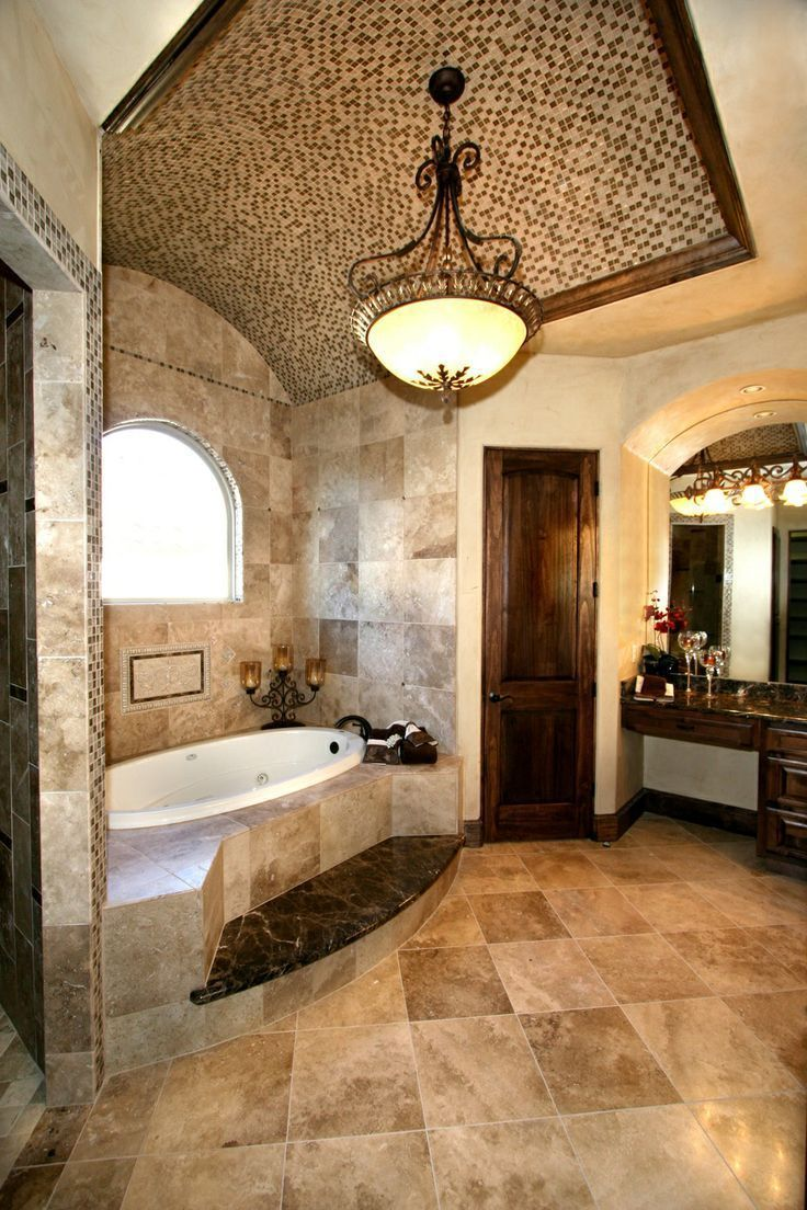 Luxury Bathroom In Tuscan Style With A Bathtub And Beige Travertine Tiles Marble Tiles