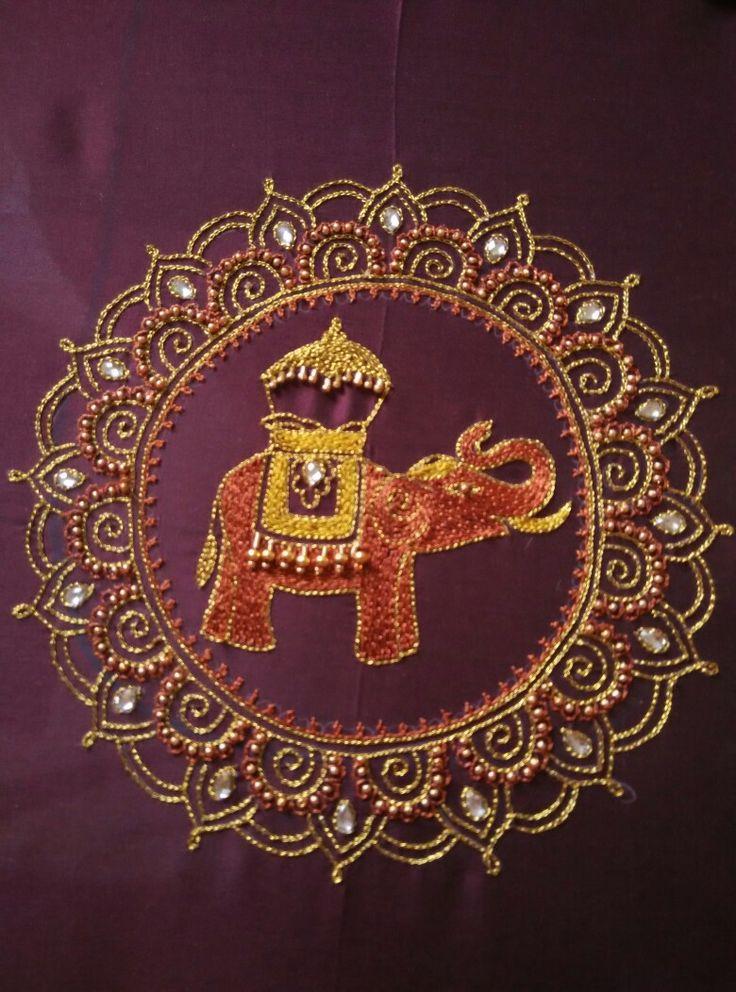 Elephant zardosi embroidery designs
