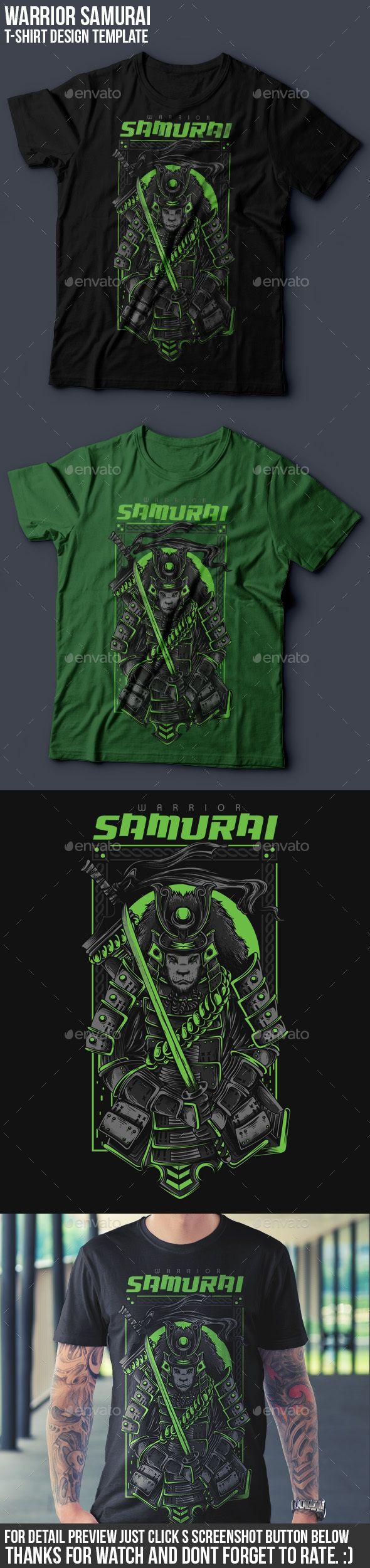 Black t shirt vector ai - Samurai Warrior T Shirt Design