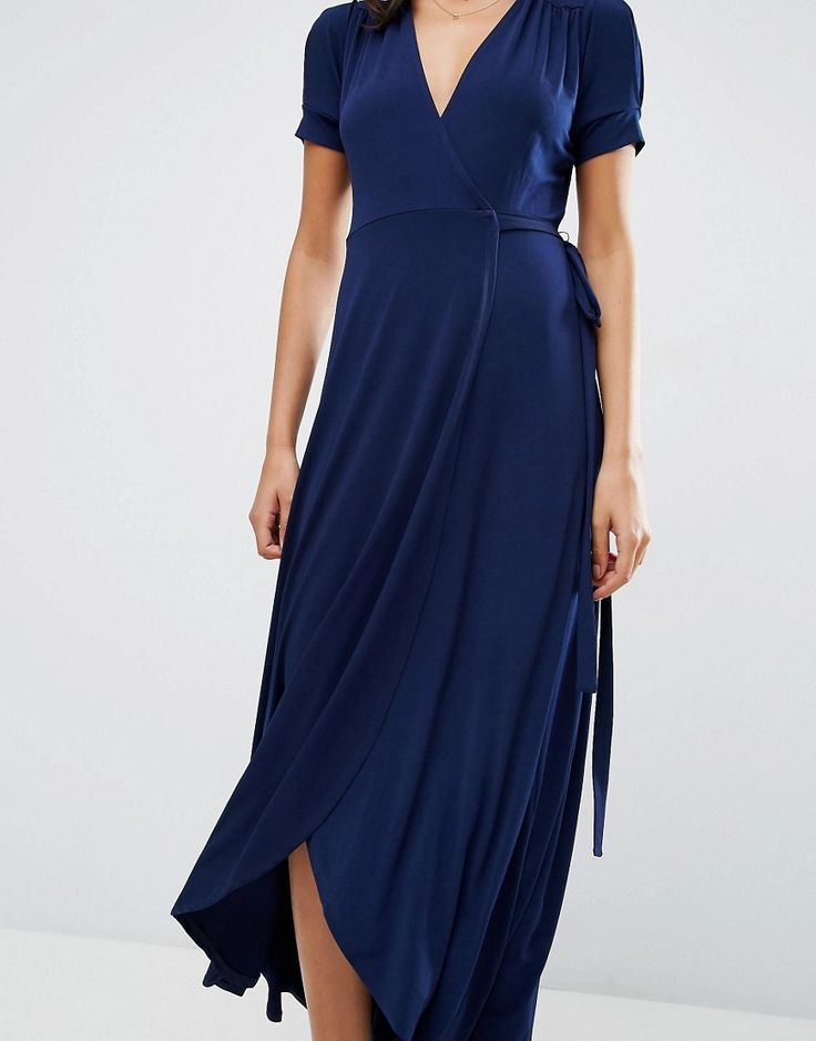 Image 3 of ASOS Crepe Wrap Maxi Dress With Cap Sleeves