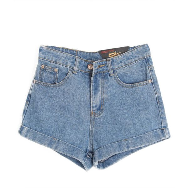 Chicnova Fashion High Waist Denim Shorts (1.270 RUB) ❤ liked on Polyvore featuring shorts, bottoms, short, pants, high rise shorts, high-waisted denim shorts, highwaist shorts, high waisted short shorts and short jean shorts