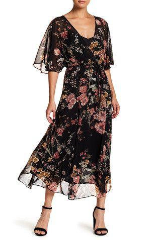 Floral Chiffon Faux Wrap Maxi Dress