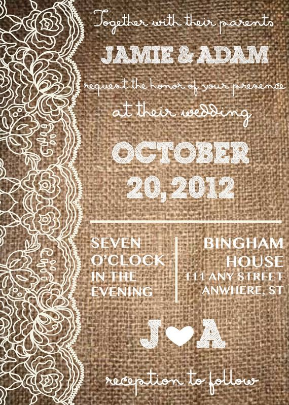 Lace & Burlap Rustic Invitation Wedding by AestheticJourneys