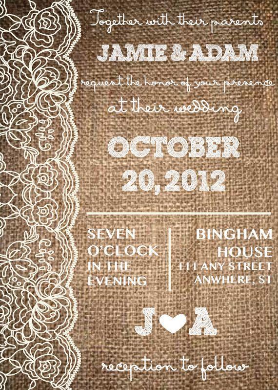 Lace  Burlap, Rustic Wedding Invitation