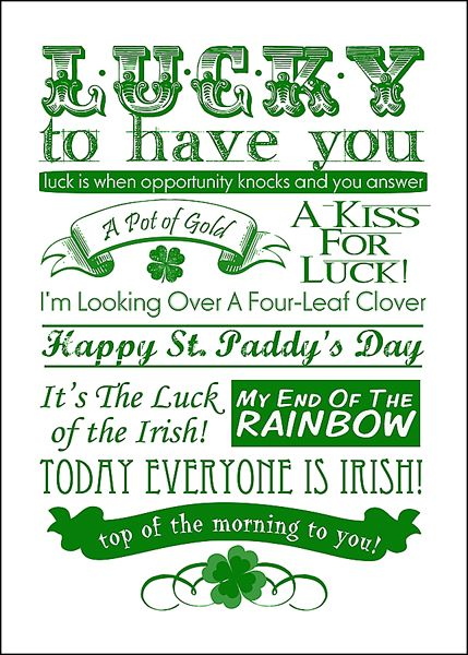 St. Patrick's Day Free Subway Art Printable