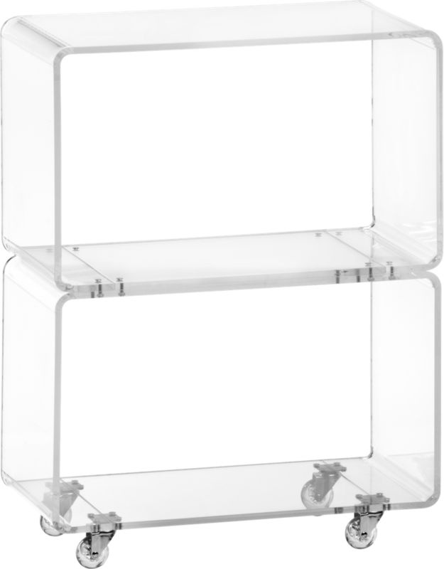peekaboo clear rolling two shelf in new furniture | CB2Cb2, Peekaboo Clear, Rolls Shelf, Clear Rolls, Shelves, Living Room, Bedside Tables, Accent Tables