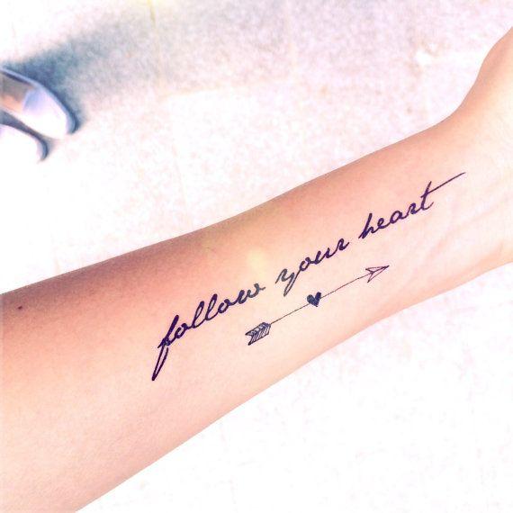 2pcs Follow your heart quote and arrow tattoo InknArt door InknArt, $5.99