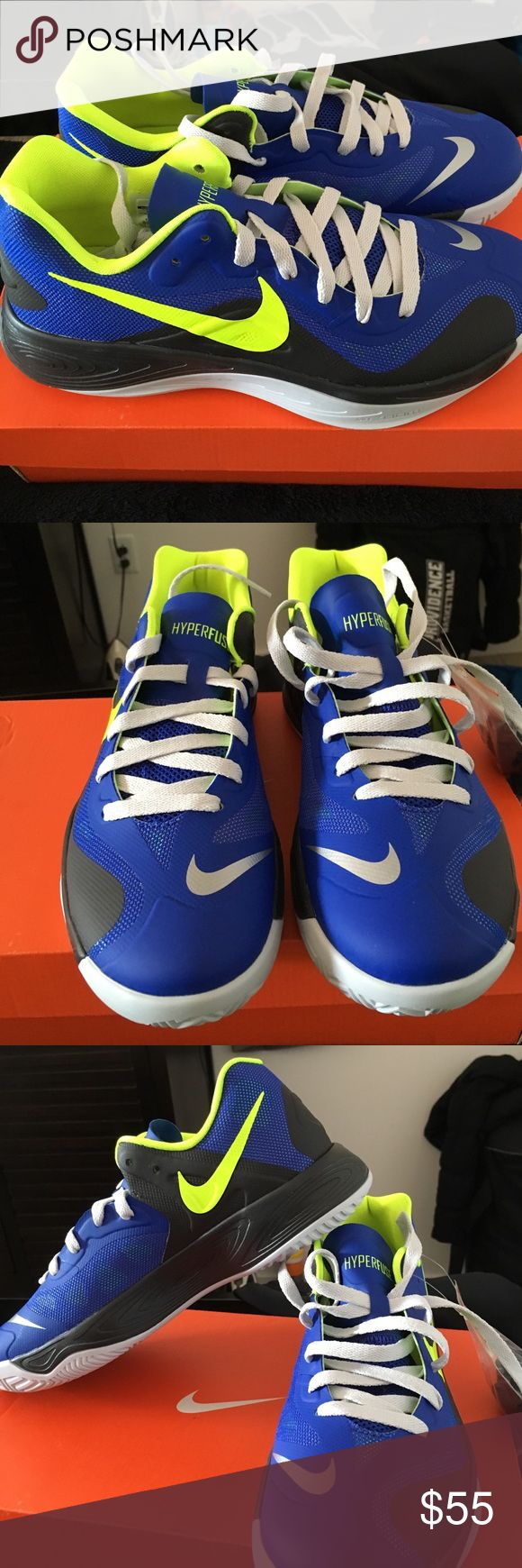 Brand new basketball sneakers Nike Hyperfuse Low Top basketball shoe. Royal blue & neon green. Brand new never worn. With extra pair of royal blue shoe laces Nike Shoes Athletic Shoes