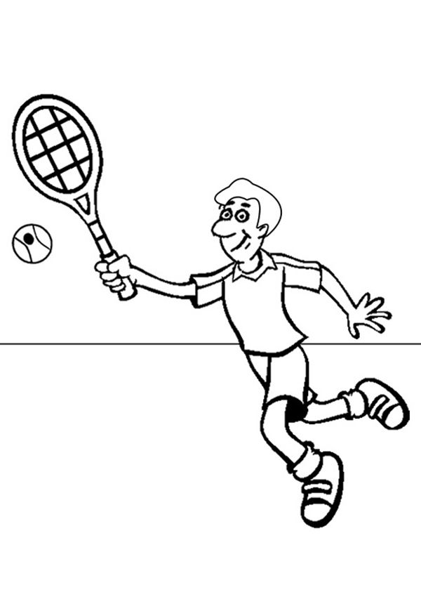 Free Online Tennis Colouring Page